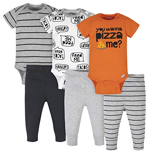 Onesies Brand Baby 3 Onesies 3 Pants Outfit Bundle Mix n Match Newborn to 12M, Grey Orange Pizza
