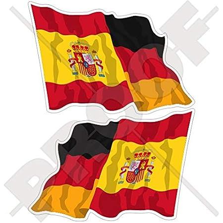Spanien Deutschland Spanisch Deutsch Wehende Flagge 120mm Auto Motorrad Aufkleber X2 Vinyl Stickers Links Rechts Garten
