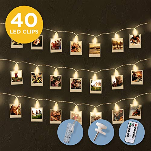 FABELTREU ® LED Foto Clips - [40x] Foto Clips Zimmer Deko im 5m Lichtervorhang - betrieben via Batterie oder USB Kabel - inklusive [20x] Wandhaken zur Halterung des Kabels