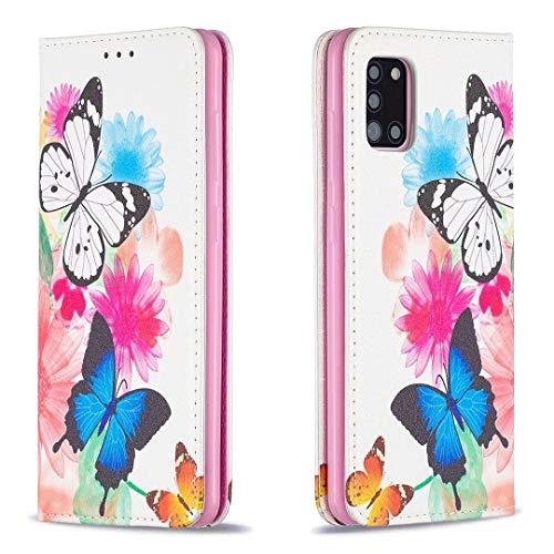 Miagon Brieftasche Hülle für Samsung Galaxy A31,Kreativ Gemalt Handytasche Case PU Leder Geldbörse mit Kartenfach Wallet Cover Klapphülle,Schmetterling Blume