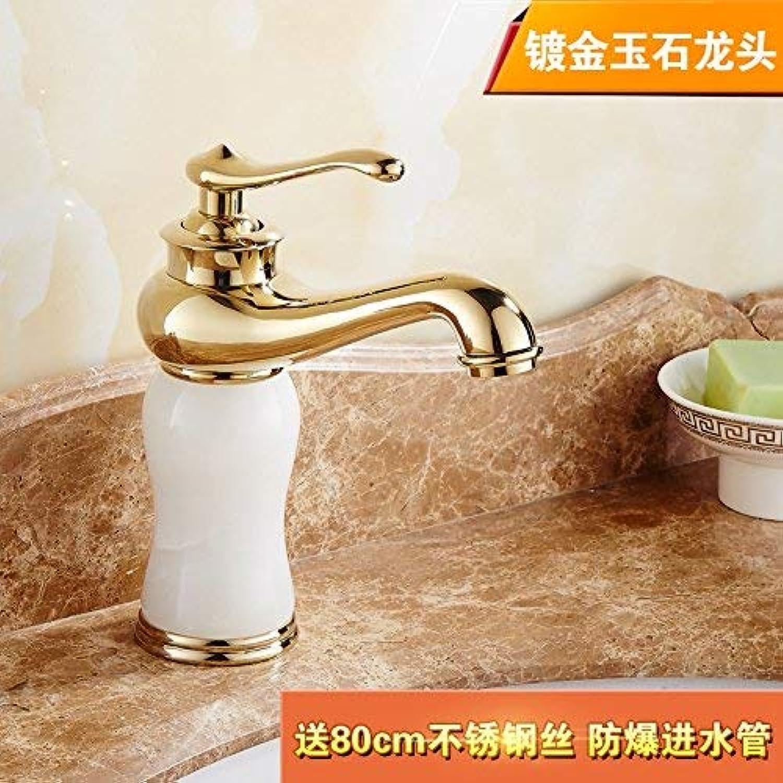 Mischer Wasserhahn Kupfer Jade im europischen Stil Golden Hei und kalt Waschen Sie Ihr Gesicht