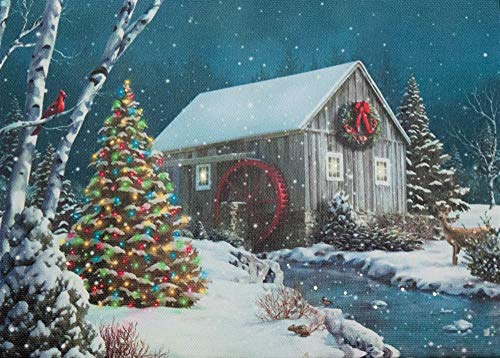 Oak Street Christmas Tree Water Mill River LED Art 8'x6' Tabletop Canvas Light up Picture 6 Hour Timer