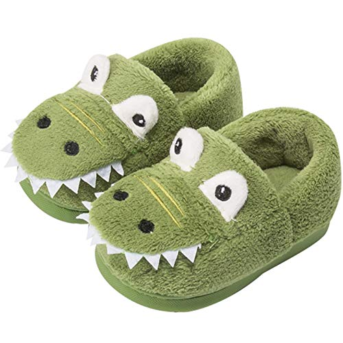Geebuzz Toddler Cute Dinosaur Slippers Kids Household Slippers Warm Anti Slip Bedroom Slippers with Rubber Sole Indoor for Girls Boys (Green,7.5)