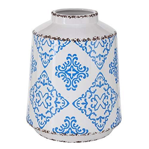 Florero de gres mediterráneo, azul y blanco, con patrón de iles, altura 20 cm