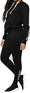 Women's 2 Piece Outfits Stripe Patchwork Sweatsuits Long Sleeve Pullover Skinny Long Pants Tracksuit Set