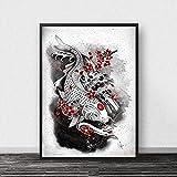 WDQFANGYI Tinta Zen Japonesa Bonsa Bushido Samurai Kanji Posters E Impresiones Lienzo Arte Pintura Cuadros De Pared Decoración De Sala De Estar 50X70Cm (Sh-5178)