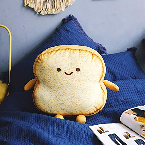 Stuffed Animal Toast Bread Pillow, Cute Soft Toast plushie, Cartoon Plush Toy Decoration Car Waist Pillow Cute Cushion Bread Slice Pillow for Children Adult Gift Home Bedroom Decoration (Yellow)