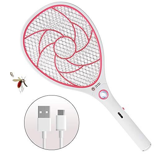 ZOMAKE Elektrische Moskito Fliegenklatsche Fliegenfänger Zapper, Insekten Mörder, USB wiederaufladbar, Doppelte Schichten Mesh Schutz,LED-Beleuchtung,3000V