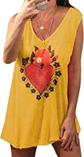MK988 Womens Plus Size Sleeveless Floral Printed Loose T-Shirt Tank Top Vest Blouse