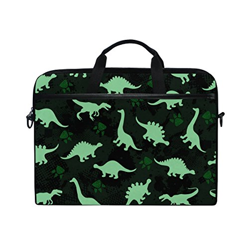 JSTEL Cute Kids Pattern Colorful Dinosaurs Abstract Laptop Shoulder Messenger Bag Case Sleeve for 14 inch to 15.6 inch with Adjustable Notebook Shoulder Strap
