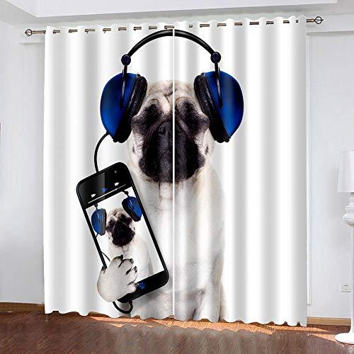 XKSJWY Cortinas Salon Dormitorio Moderno 2 Piezas 3D Perro De Música De Moda Patrón Cortinas Ventana Opacas Termicas Aislantes Frio Y Calor, Cortinas Habitacion Juvenil con Ojales 280X260Cm