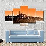 Impresiones en lienzo, arte abstracto, 5 lienzo, arte de pared, mezquita del Sultán Ahmet, al atardecer en Estambul, cuadro de pintura, póster con impresión en HD 150X80