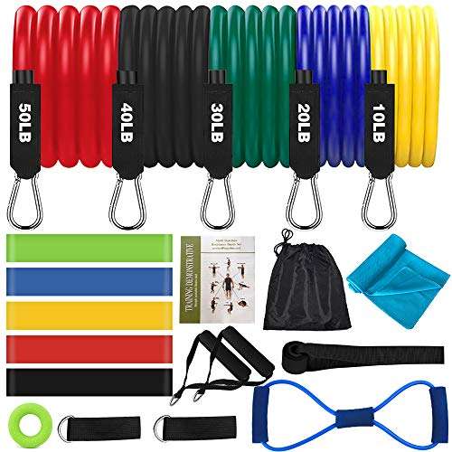 Resistance Bands Set for Working Out & Training, 20 PCS Exercise Bands for Women & Men with Door Anchor, Loop Resistance Bands, Ankle Straps, 8-Shaped Stretch Band, Hand Grip Strengthener