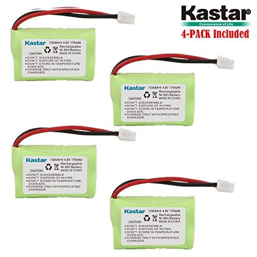 Kastar 4-Pack 4.8V 170mAh Ni-MH Rechargeable Battery for PetSafe Yard & Park Remote Dog Trainer, PDT00-12470 RFA-417 PAC00-12159 FR-200P Collar Receiver Plus Coaster, SportDog FR200, SD-400, SD-800