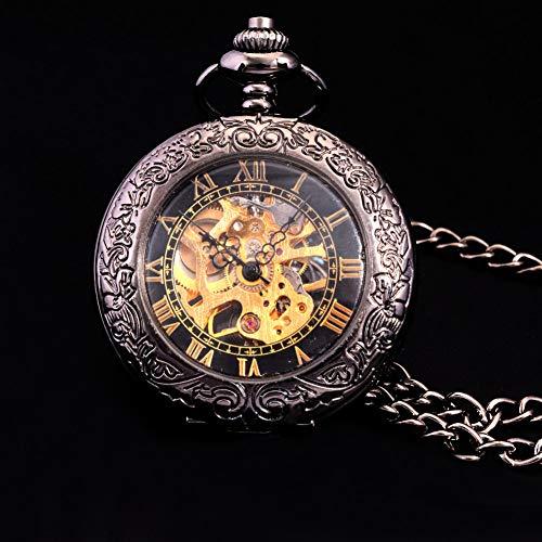 ERDING Pocket horloges, verjaardag dag, vintage Steampunk Skeleton mechanische Pocket horloges mannen antieke hand wind ketting zak & horloge ketting goud