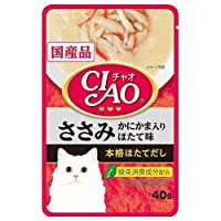 お買得セット いなば CIAO(チャオ)パウチ ささみ かにかま入り ほたて味 40g キャットフード 国産 3袋