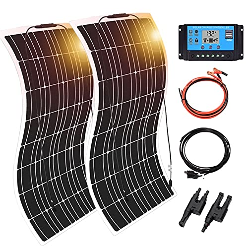 YSNUK Panel Solar 300w Kit Completo 12v 24v Cargador Solar De Batería Placa Solar 12v Monocristalino Célula Solar para RV 1000w S-istema Casero Kit Coche Barco Viaje (Color : 300w Kit White)
