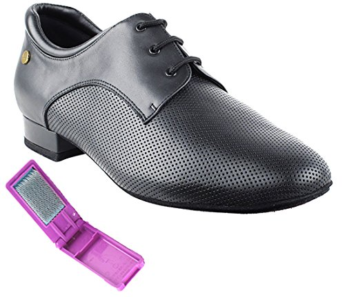 Very Fine Ballroom Latin Tango Salsa Dance Shoes for Men CD9426DB 1 Inch Heel + Foldable Brush Bundle - Black Leather - 9.5