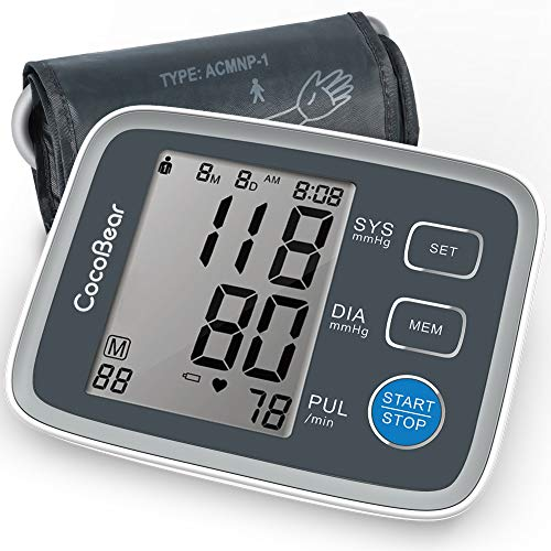 Blood Pressure Monitor CocoBear Upper Arm Digital Automatic BP Monitor for Home Use, 2 * 90 Memory Storage Adjustable Cuff Batteries Included FDA/RoHS Certified Automatic