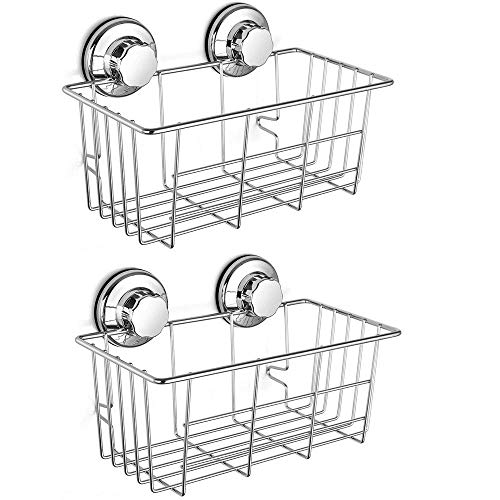 Slideep Adhesive Suction Cup Shower Caddy, Bath Organizer Storage Basket Wall Shelf for Gel Holder Bathroom Accessories Shampoo, Conditioner Rustproof 304 - Set of 2