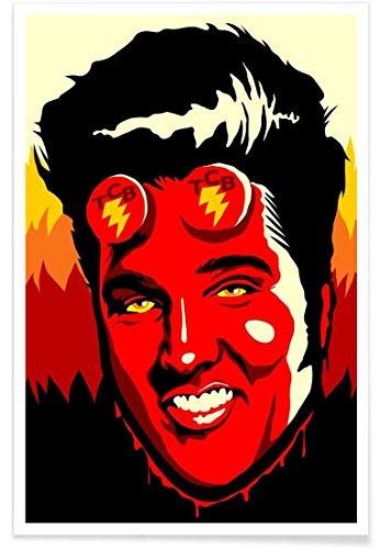 Juniqe® Affiche 30x45cm Elvis Pop Art - Design Hellvis (Format : Portrait) - Poster, Tirages d'art & Tableaux par des Artistes indépendants créé par Butcher Billy