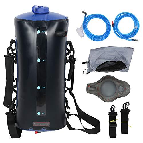 VGEBY - Ducha de Camping de 20 l, Bolsa de baño portátil con Bomba de Pedal de presión y Boquilla de Ducha para Acampar de Viaje al Aire Libre (Negro)