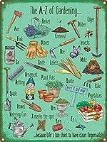 The A-Z Of Gardening メタルポスター壁画ショップ看板ショップ看板表示板金属板ブリキ看板情報防水装飾レストラン日本食料品店カフェ旅行用品誕生日新年クリスマスパーティーギフト