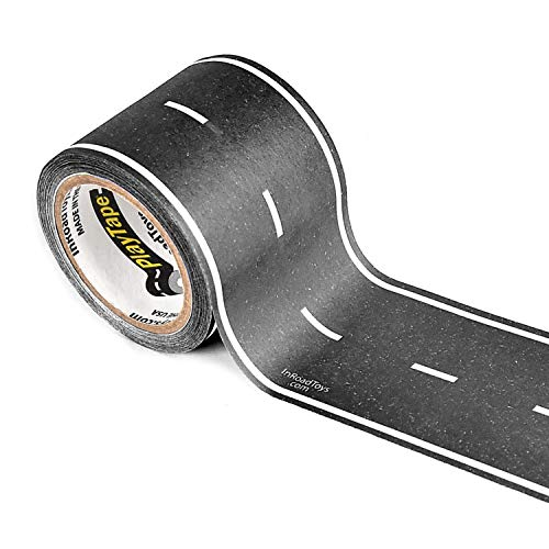 PlayTape Black Road - Road Car Tape Great for Kids, Sticker Roll for Cars Track and Train Sets, Stick to Floors and Walls, Quick Cleanup, Children Toys (30 Inch by 2 Inch - Pack of 1, Black)