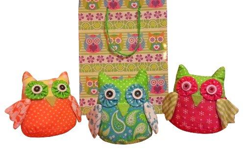 Stoffeulen Angebot 3 Eulen + Geschenktüte Eule Shabby Dekoeule bunt orange pink türkis
