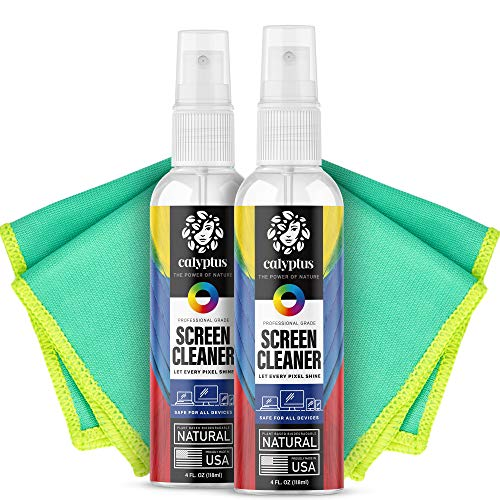 Calyptus Screen Cleaner Kit | Plant Based Power | USA Made | 8 Ounces + 8 Inch Pixel Shining Cloths | Streak Free Spray | Phone, Laptop, Tablet, Computer Screen Cleaning