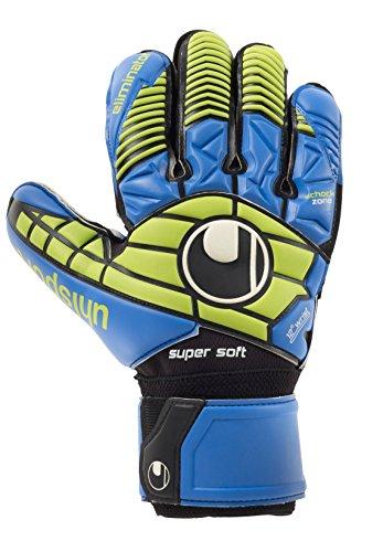 uhlsport Handschuhe Eliminator Supersoft Torwarthandschuhe, Schwarz/Blau/Power Grün, 11.0