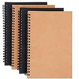 Bloc de Notas Espiral A5 Pack de 4 Espiral Cuaderno de Bocetos Cuadernos de Papel Kraft en Blanco 100 Páginas / 50 Hojas para Viajar Dibujo Artístico (Marrón y Negro)