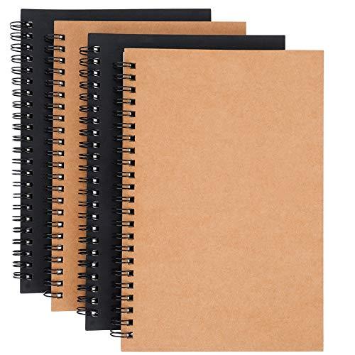 Blocco Note, A5 Sketchbook Blocco Note a Spirale in Bianco Carta Kraft Quaderno Schizzi Pagine Bianche 100 Pagine / 50 Fogli per i Viaggi Scuola Ufficio 4 Pezzi (Marrone e Nero)