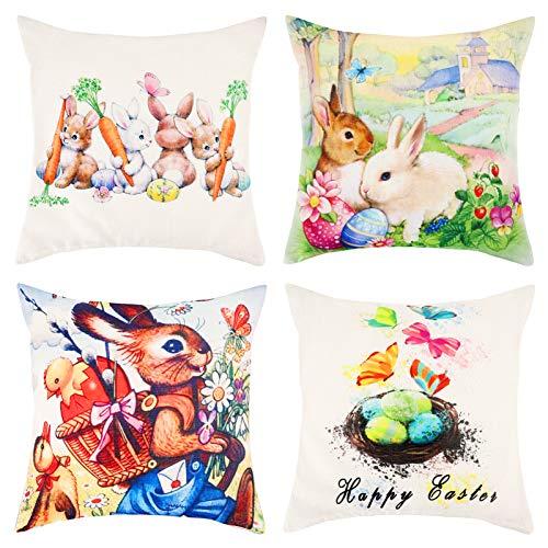 Qpout Juego de 4 fundas de almohada de Pascua, diseño de conejito de Pascua con diseño de dibujos animados, funda de almohada de lino, decoración de la fiesta de Pascua