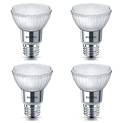 Philips LED 471169 50 Watt Equivalent Classic Glass PAR20 Dimmable LED Flood Light Bulb (4 Pack), Bright White, 4 Piece