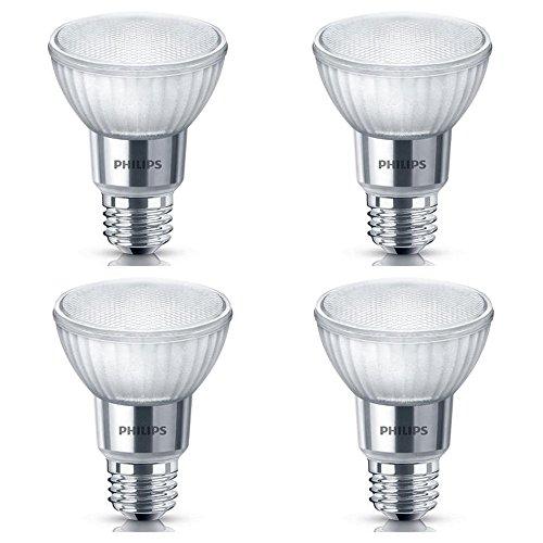 Philips LED 471169 50 Watt Equivalent Classic Glass PAR20 Dimmable LED Flood Light Bulb (4 Pack), 4-Pack, Bright White, 4 Piece