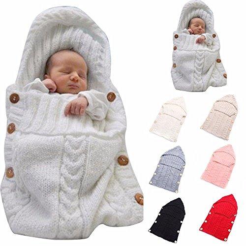Newborn Baby Wrap Swaddle Blanket, Kids Wool Knit Swaddle Kids Sleeping Bag Stroller Wrap Sleep Sacks (Beige)