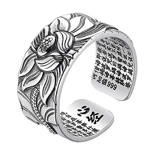 Reuvv 99 Anello di Loto in Argento con Thai Cuore Sutra Regolabile Open End Finger Ring Gioielli Regali