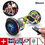 Hoverboard 10 Inch Self Balancing Scooter with Wireless Remote Control with Bluetooth Speaker, LED Lights, Flashing Wheels, for Kids and Adults+ A Set of Protective Gear,Street Dance