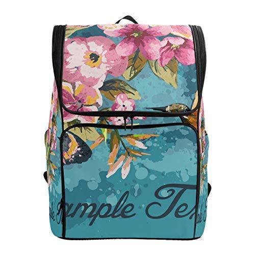 Ahomy Schulranzen Kolibri Blumen Schmetterling Wanderrucksack Cool Sport Rucksack Laptop Tasche Leichter Schulrucksack für Teenager Mädchen Jungen
