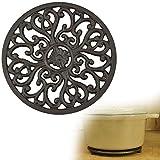 GOLRISEN Salvamanteles de hierro fundido robusto, resistente al calor, 17 cm de diámetro, color negro, redondo, con pies y diseño vintage, para cocina, comedor, sartenes, tetera