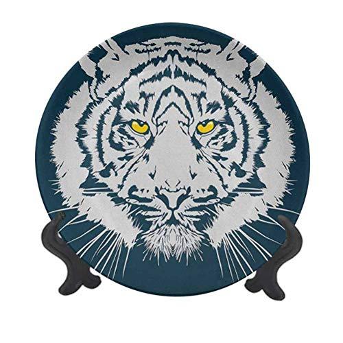 Tiger - Plato decorativo de cerámica de 25,4 cm, diseño agresivo de...