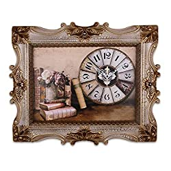 Decorative Wall Clock, Stunning Framed Canvas Wall Clock with Books and Floral Art, Battery Operated Metal Clock for Home, Living Room, Kitchen and Den