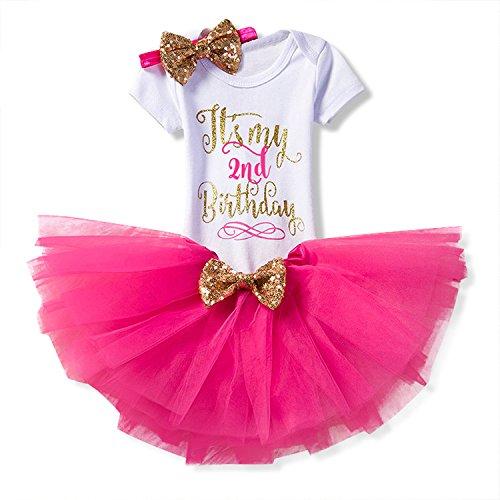 NNJXD Mädchen Neugeborene Es ist mein 1. Geburtstag 3 Stück Outfits Strampler + Rock + Stirnband Größe (2) 2 Jahre Rose