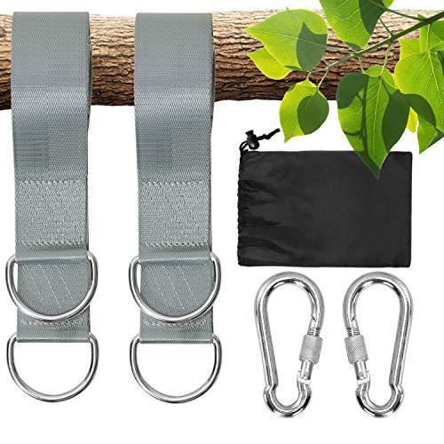 Colisal Schaukel Aufhängung Befestigung Set 1,5 m Hängematten Befestigung Aufhängung Nylon Hanging Gurt mit 2 Schaukel Karabinern Haken für Schaukel Hängematten Grau