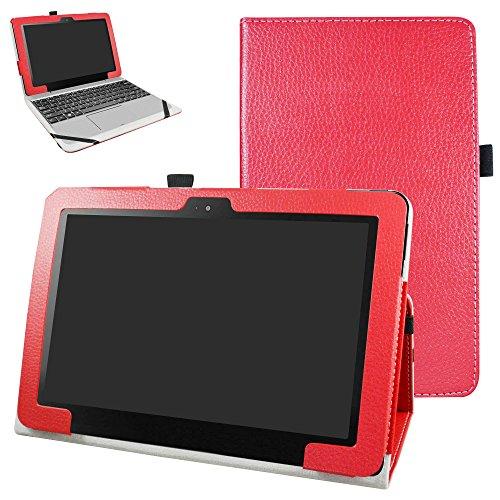 ASUS T101HA / Transformer Book T101HA Funda,Mama Mouth Slim PU Cuero Con Soporte Funda Caso Case para 10.1' ASUS Transformer Book T101HA Windows 10 Tablet 2016,Rojo