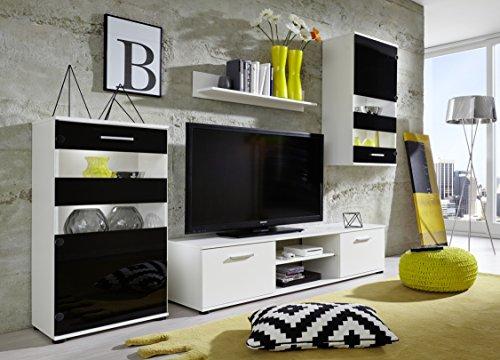 trendteam 1573-001-02 Wohnwand Weiß,  Klarglas Schwarz Siebdruck, BxHxT 222x177x40 cm - 5