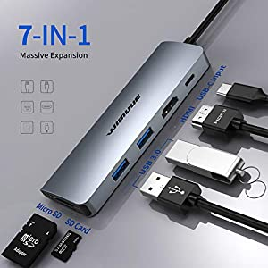 USB C Hub, WIMUUE 7-in-1 USB-C Adapter for MacBook Pro/Air Multiport Dock for USB Type C Laptops – USBC Dongle with 2 x…