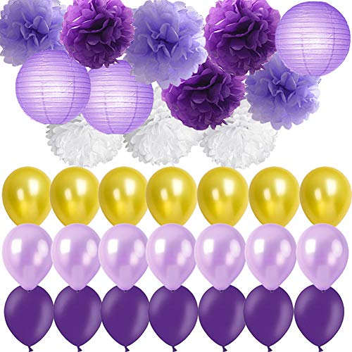 Purple Party Decorations- Lavender Purple Gold White Pom Poms Flowers Paper Lanterns mixed Party balloons for Birthday Party Baby Shower Bridal Shower Wedding Party Decoration (lavender, purple, gold)