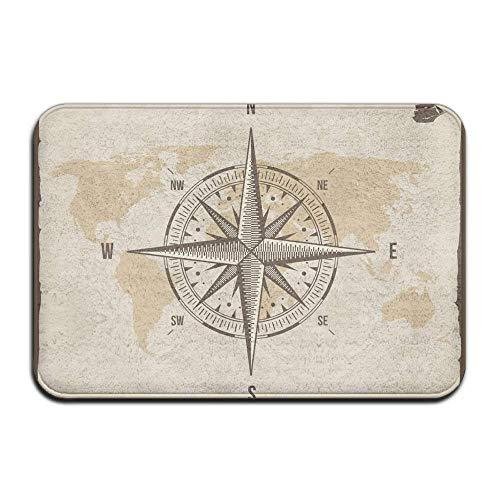 Tapis de Porte Tapis Vintage Nautique Compass Vieux Monde Carte Absorbant Antidérapant Extérieur Intérieur Tapis D
